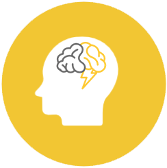 Icon of human head with brain and lightning logo inside representing threat intelligence
