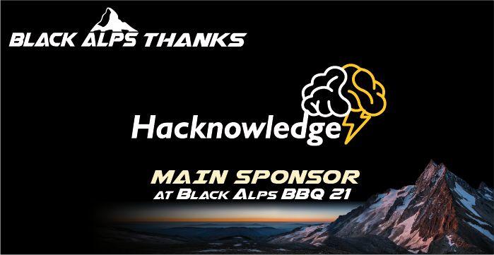 Hacknowledge main sponsor of Blackalps 2021
